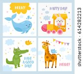 set of baby cards with animals. ...   Shutterstock .eps vector #614282213