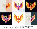 set of phoenix logos. abstract... | Shutterstock .eps vector #614283620