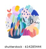 trendy creative collage with... | Shutterstock .eps vector #614285444