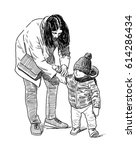 sketch of a mother with her kid | Shutterstock . vector #614286434