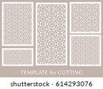 decorative panels set for laser ... | Shutterstock .eps vector #614293076