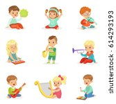 little kids sitting and playing ... | Shutterstock .eps vector #614293193