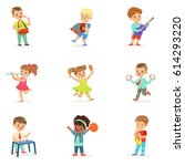 cute children dancing and... | Shutterstock .eps vector #614293220