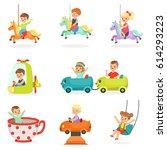children having fun in an... | Shutterstock .eps vector #614293223