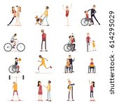 disabled people icons set with... | Shutterstock .eps vector #614295029