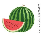 watermelon. one whole... | Shutterstock .eps vector #614296220