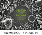 pub food frame vector... | Shutterstock .eps vector #614300054
