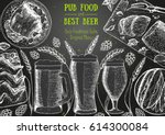 pub food frame vector... | Shutterstock .eps vector #614300084