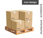 vector icon cargo boxes pallet | Shutterstock .eps vector #614300243