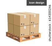 vector icon cargo boxes pallet | Shutterstock .eps vector #614300246
