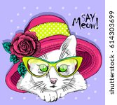 vector white cat with yellow... | Shutterstock .eps vector #614303699
