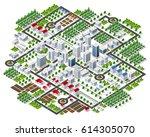 isometric 3d city megapolis... | Shutterstock .eps vector #614305070