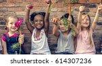 group of kindergarten kids... | Shutterstock . vector #614307236