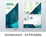 tri fold brochure design. teal... | Shutterstock .eps vector #614316686