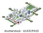 isometric 3d city megapolis... | Shutterstock .eps vector #614319410
