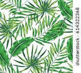 green palm leaves on the white... | Shutterstock .eps vector #614322368