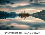 church on island in lake bled ... | Shutterstock . vector #614324624