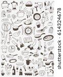 cookery food doodles | Shutterstock .eps vector #614324678