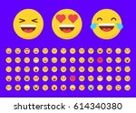 set of 70 emojis in flat style... | Shutterstock .eps vector #614340380