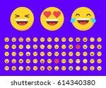 set of 70 emojis in flat style... | Shutterstock .eps vector #614340380