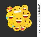 set of happy flat emojis...   Shutterstock .eps vector #614340440