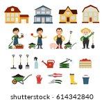 set of farmers and gardeners... | Shutterstock .eps vector #614342840