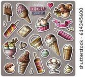 set of ice cream cartoon... | Shutterstock .eps vector #614345600