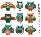 set of nine stylized cartoon... | Shutterstock .eps vector #614350979