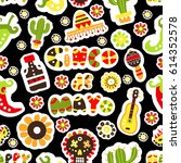 seamless pattern. mexican... | Shutterstock .eps vector #614352578