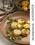 mushrooms grill  stuffed with... | Shutterstock . vector #614359529
