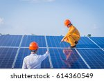 solar engineer and electrician... | Shutterstock . vector #614360549