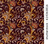 flourish tiled pattern. floral... | Shutterstock .eps vector #614363816