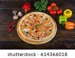 italian vegetarian pizza. pizza ... | Shutterstock . vector #614366018