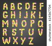 font. office sticky. vector... | Shutterstock .eps vector #614367704