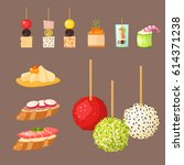 various meat canape snacks... | Shutterstock .eps vector #614371238