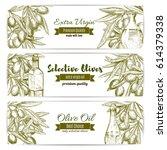 olive oil and fresh olive fruit ... | Shutterstock .eps vector #614379338