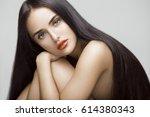 beauty portrait of beautiful... | Shutterstock . vector #614380343