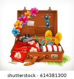 tropical holidays. summer... | Shutterstock .eps vector #614381300