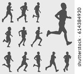 run silhouettes vector set | Shutterstock .eps vector #614384930