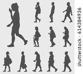 walk silhouettes set | Shutterstock .eps vector #614384936