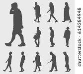 walk silhouettes vector set | Shutterstock .eps vector #614384948