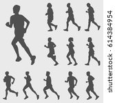 running silhouettes vector set | Shutterstock .eps vector #614384954