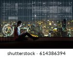 asian businessman sitting and... | Shutterstock . vector #614386394