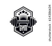 logotype for heavyweight gym or ... | Shutterstock .eps vector #614386634