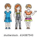 cute little girls standing in... | Shutterstock .eps vector #614387543