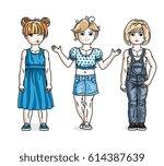 cute little girls standing in... | Shutterstock .eps vector #614387639
