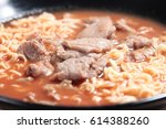 noodles in soup with meat and... | Shutterstock . vector #614388260
