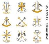 vintage weapon emblems set.... | Shutterstock .eps vector #614391734
