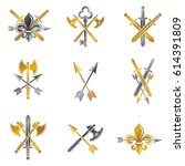 vintage weapon emblems set.... | Shutterstock .eps vector #614391809