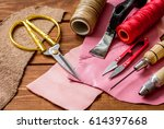 leather craft instruments on... | Shutterstock . vector #614397668